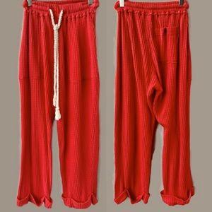 Free People Beach Ribbed Red Tie Waist Pants, XS